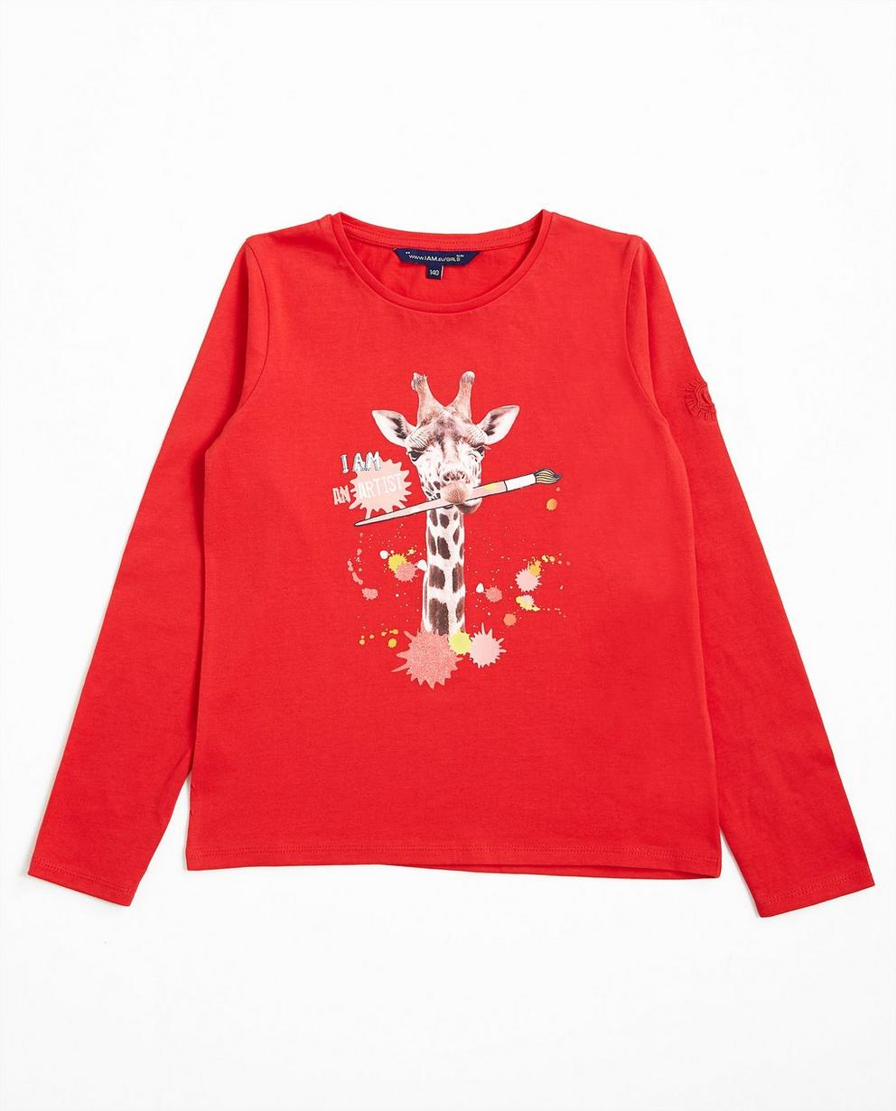 Longsleeve Giraffenprint - in Rot, I AM - I AM